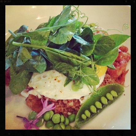 Fried Chicken Oatmeal, Sunny Side-Up Egg, Peas, Lemon at Ink  | Instagram, rachelloveschicken
