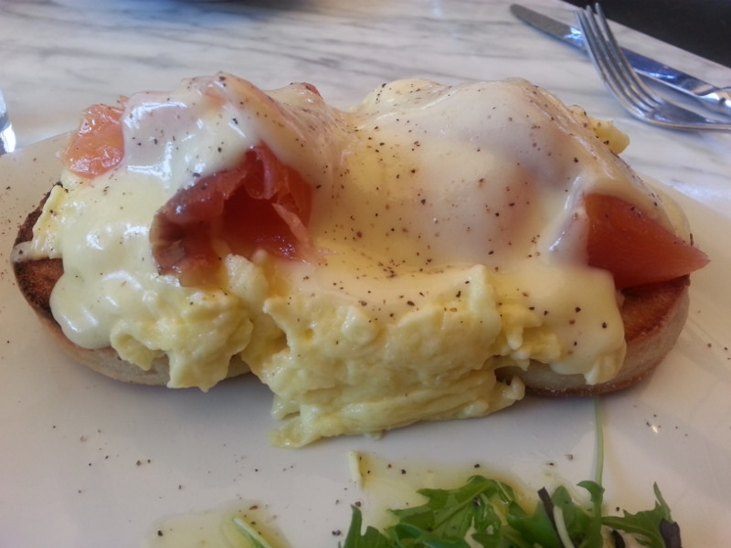 Soft scrambled eggs with hot smoked ocean trout, hollandaise and house made english muffin at Eveleigh  | Foodable WebTV Network