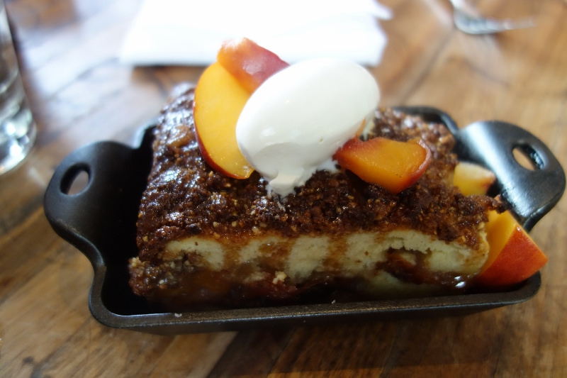 Reiger Farm Peach Coffee Cake with brown butter streusel at M.B. Post  | Foodable WebTV Network
