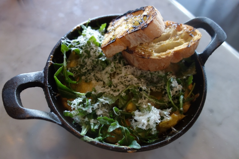Frittata with potato, onion, arugula, pecorino and romano at Scopa  | Foodable WebTV Network