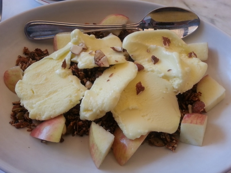 Granola with frozen orange yogurt and apple at Eveleigh  | Foodable WebTV Network