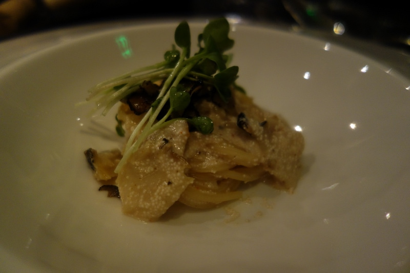 Spaghettini with abalone, pickled cod roe, and burgundy truffles at n/naka | FOODABLE WEBTV NETWORK