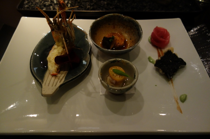 Australian Blue Shrimp, Ankimo Foie, Big Eye Tuna, and Thai Ceviche at n/naka | FOODABLE WEBTV NETWORK