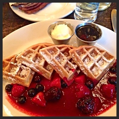 Hazelnut Waffles at Balthazer restaurant  | CREDIT: YELP, Richelle L.