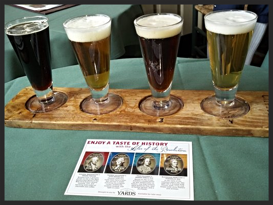 Beer tasting flight of the different Founding Father's beer at City Tavern | YELP, Lily L.