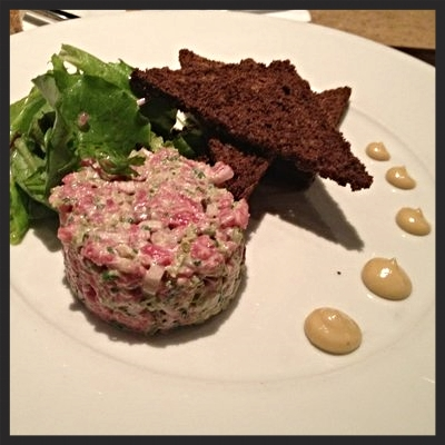 Beef tartare with house made rye bread at Restaurant Eve  | YELP, Laurie W.