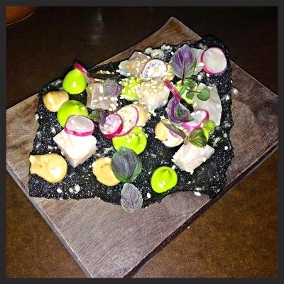 Hamachi avocado and seaweed crackerat State Bird Provisions  | YELP, Naomi A.