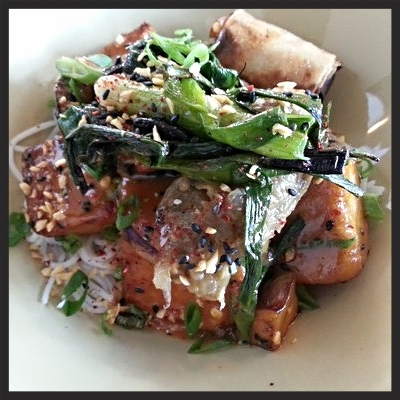 Tofu, noodles, and eggplant from MOPHO  | YELP, Caitlin C.