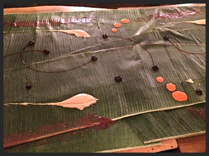Banana leaves covered in sauces | Foodable WebTV Network