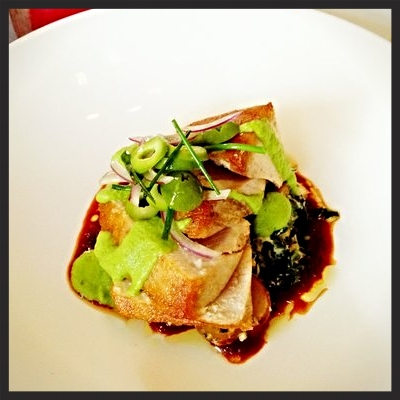 Seared Tuna with olives in a tomato reduction at Le Pigeon  | YELP, Elyse L.