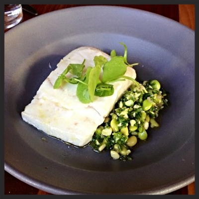 Slow baked halibut with sea beans and soy beans at flour + water | YELP, Truc D.