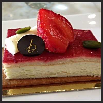 Strawberry Pistachio Cake at B. Patisserie  | YELP, Tina N.