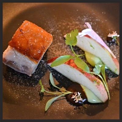 Cerdo with pork belly, smoked avocado, mole, white peach, tostada, oregano blossom | YELP, Sue Y.