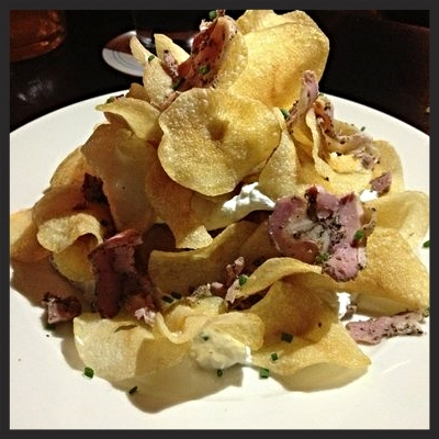 Chips, beer goat cheese and duck pastrami at Blind Butcher  | YELP, May N.