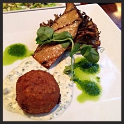 Roasted trumpet and maitake mushrooms with celery root fritter at Vedge  | Yelp, Allison B.