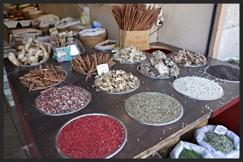 An array of ingredients at the Machane Yehuda Market  | Foodable WebTV Network