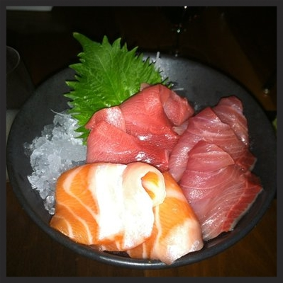 Tuna, salmon, and yellowtail sashimi on ice at barMASA  | YELP, Great Pizza P.