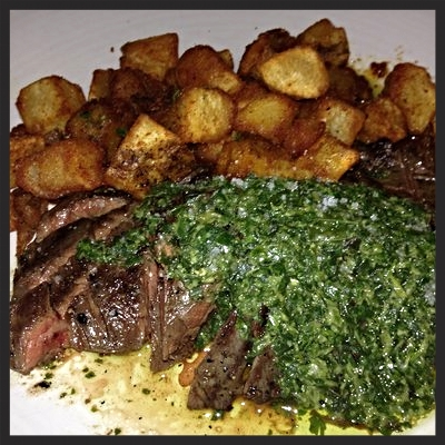 Skirt Steak with Salsa Verde at Peche Seafood Grill  | YELP, Lisa l.