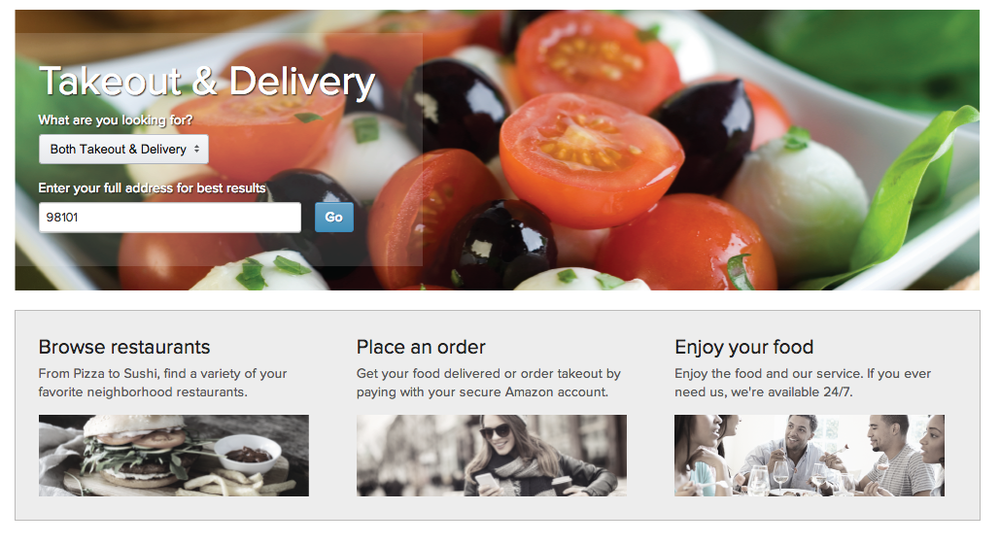 Screenshot of Amazon's Takeout & Delivery Page  | Amazon