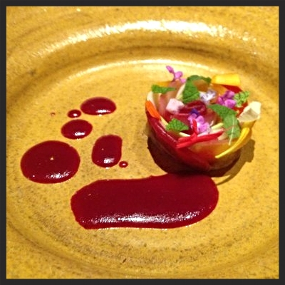Fall Rose - beet, red endive, walnut, turnip, mints and flowers at Coi | YELP, Al L.