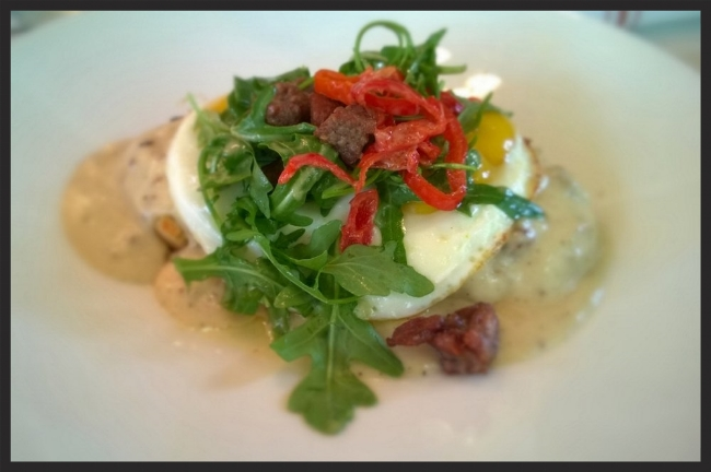 Biscuits with duck gravy & eggs at Boulevardier | YELP, Trinh T.