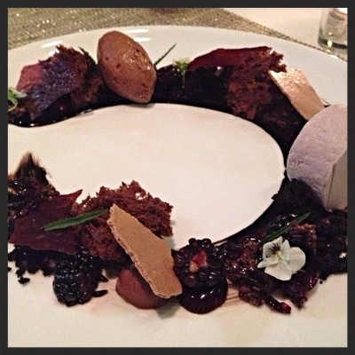 Confit hibiscus, cocoa nib crunch, dark chocolate violet ganache, blackberry, black cocoa, milk, chocolate sorbet at Liquid Art House | YELP, Abby O.