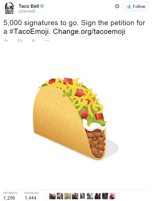 Screenshot of Taco Bell's recent Tweet promote the Taco Emoji petition  | @Tacobell