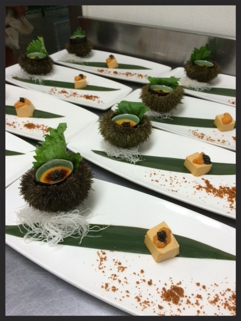 Sea Urchin Course Prepared by Chef Ben Dayag | Chashman & Associates