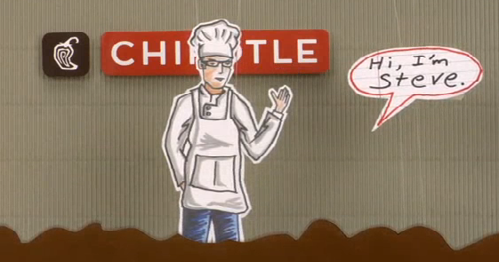 "Screenshot from the recent Chipotle animated short- ""One Man's Quest for Better Tasting Pork""  