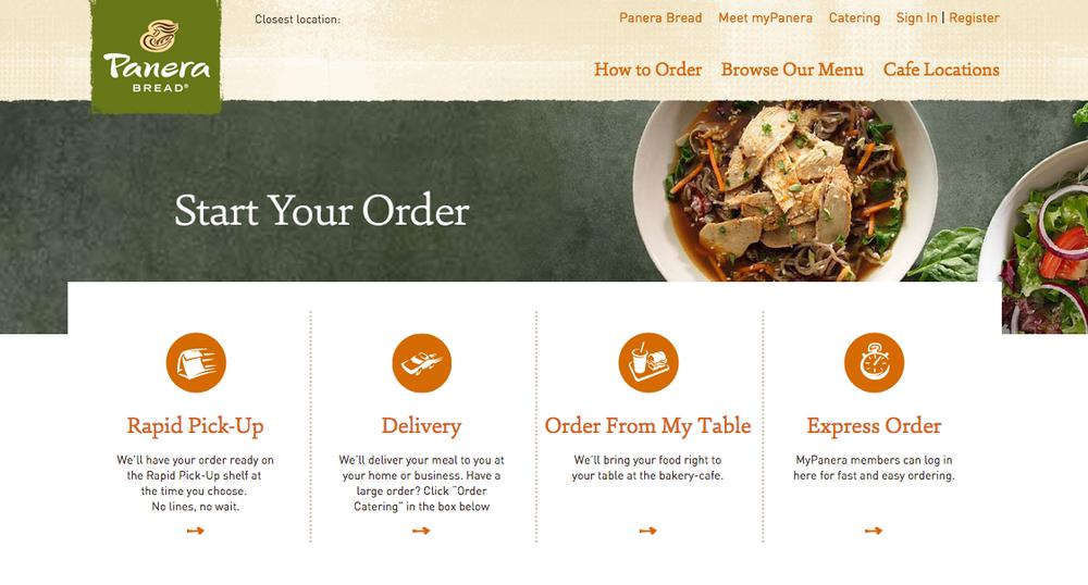 Screenshot of Panera's Online ordering system | Panera.com