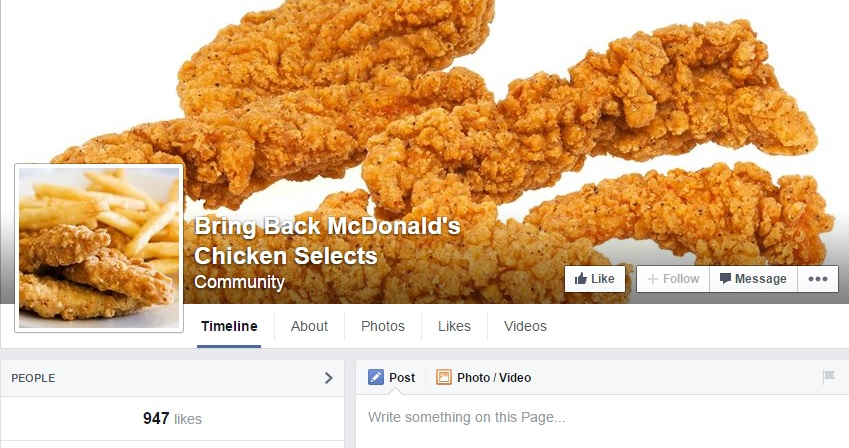"Facebook page labeled ""Bring Back McDonald's Chicken Selects""  