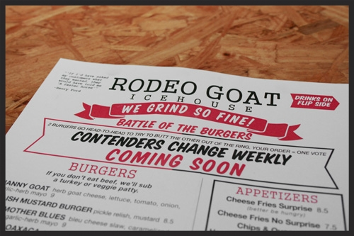 Rodeo Goat Menu  | Foodable Network