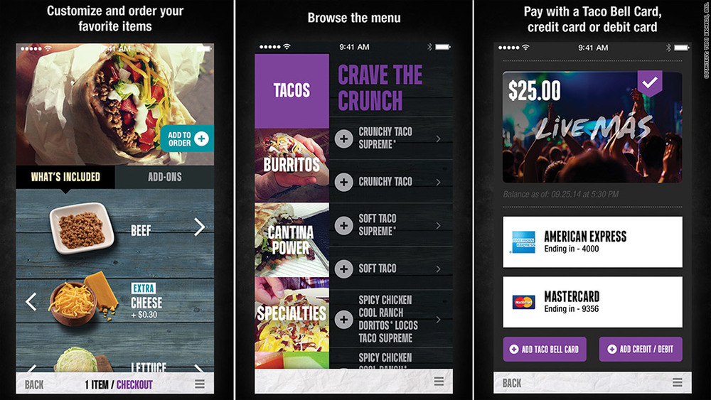 SCREENSHOT OF TACO BELL APP | MONEY.CNN
