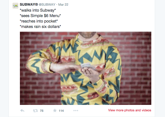 Subway's recent tweet featuring a video with a man in a sandwich covered sweatshirt  | @SUBWAY