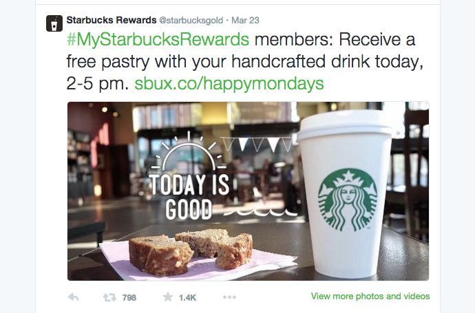 Recent Twitter post by Starbucks rewards  | @starbucksgold