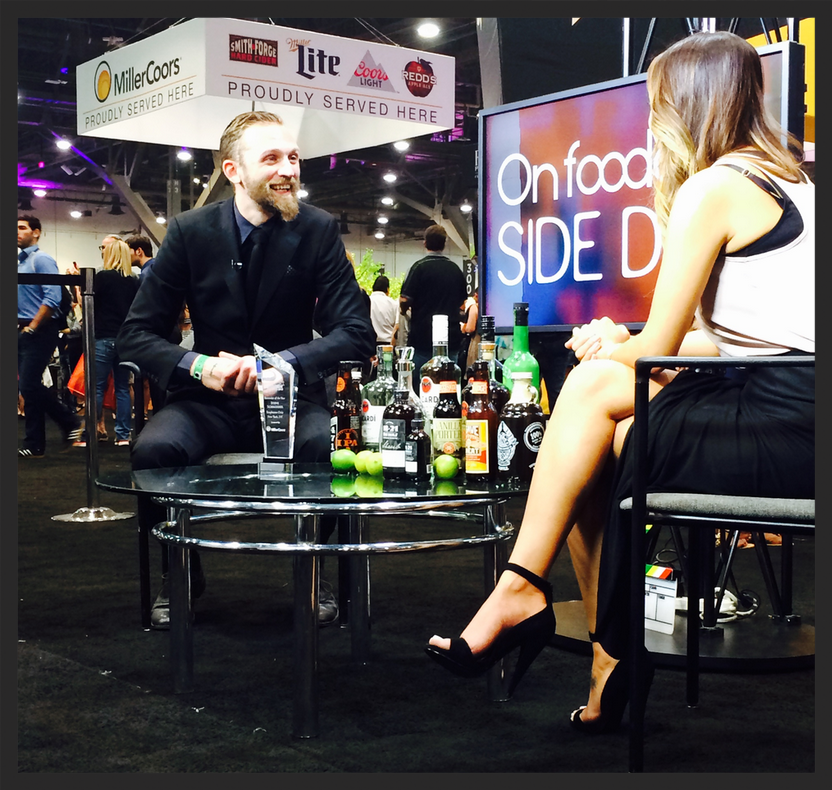 Steve Schneider, Bartender of the Year on the Foodable media stage at NC&B Show 2015 | Foodable WebTV Network