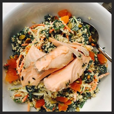 Tangier quinoa bowl with salmon from Stir Market  | Yelp, Anna D.