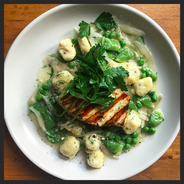 Marinated & grilled swordfish with ricotta gnocchi & peas from Butchers & Barbers  | Instagram, butchersandbarbers