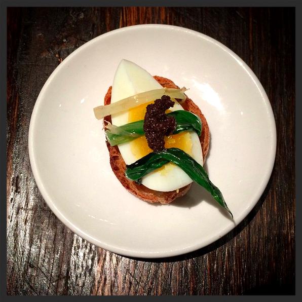 Ramp & egg pintxo at Huertas. | Credit: Instagram, huertasnyc
