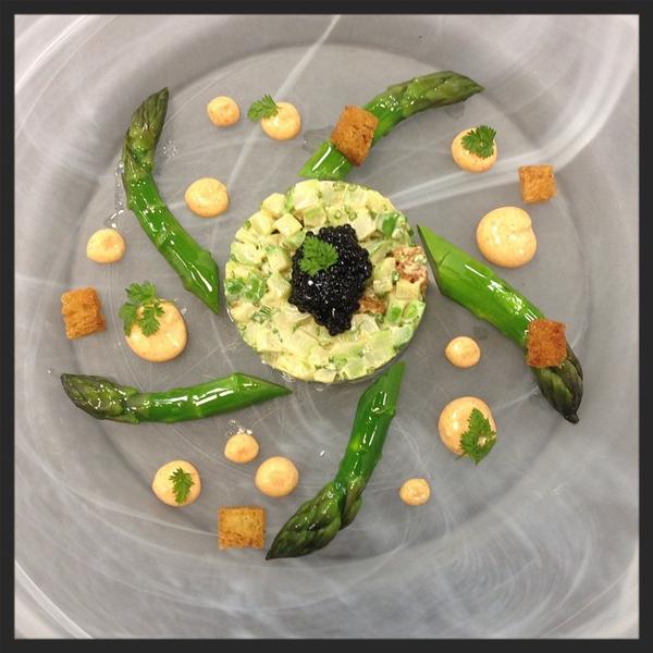 Asparagus salad with caviar at Restaurant Guy Savoy. | Credit: Instagram, mchartron26