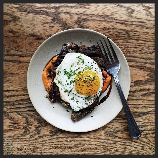 Butcher's steak with egg, squash-romesco, radicchio and saba | Instagram, Avec Chicago