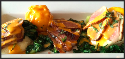 Tea Smoked Duck Benedict from bellyQ | Credit: Yelp, Robert G.