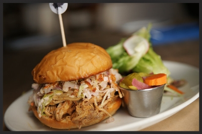 All-natural pulled whole hog BBQ sandwich, NC Style from SMOKE | Credit: SMOKE