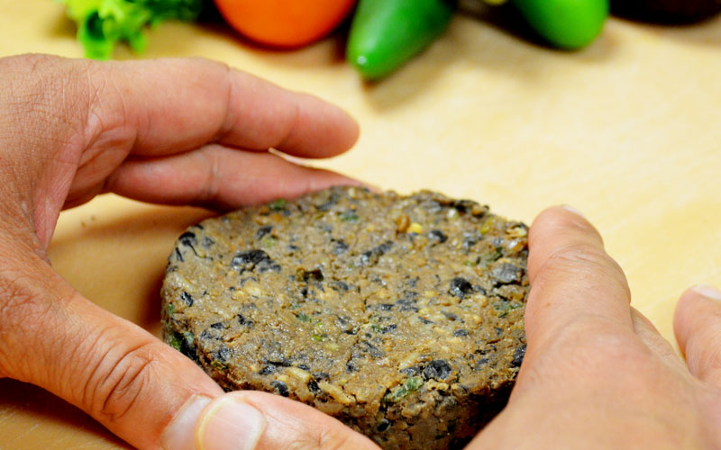 Handformed black bean burger at Fresh to Order | Freshtoorder.com