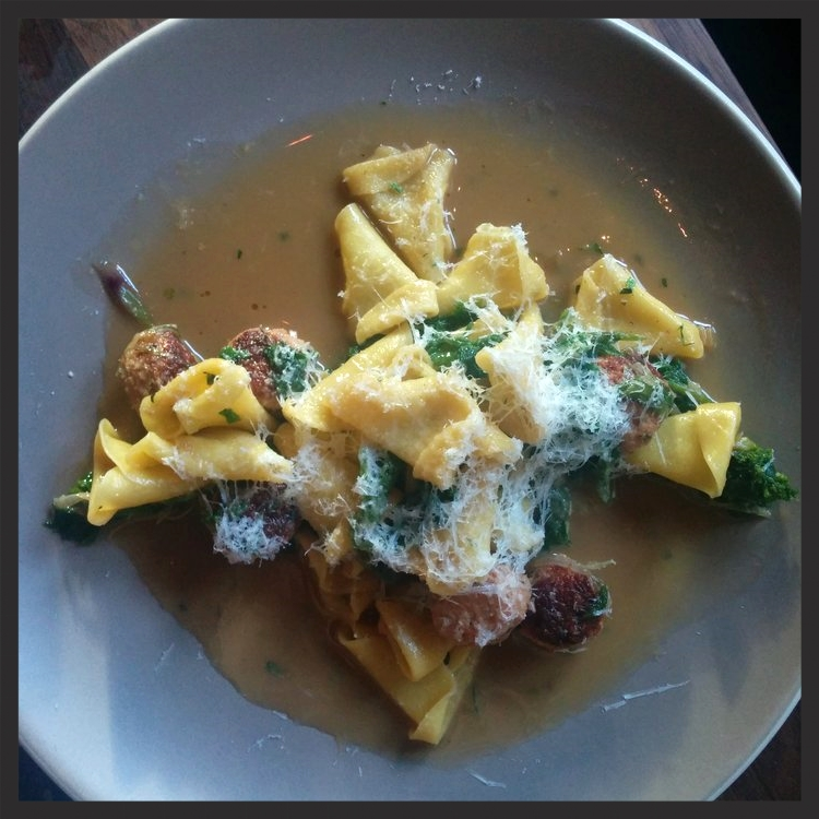 Cappellaci dei briganti with polpettini, mustard greens, spring onion at flour + water | Yelp, Jean Y.