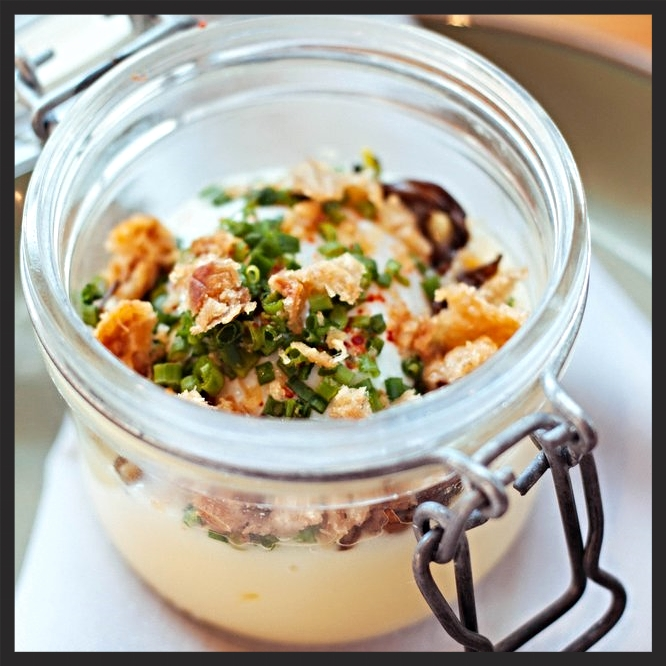 Egg in a Jar [duck egg, hen of the woods, pomme puree, crisp skin] at West Bridge  | Yelp, Shuang C.