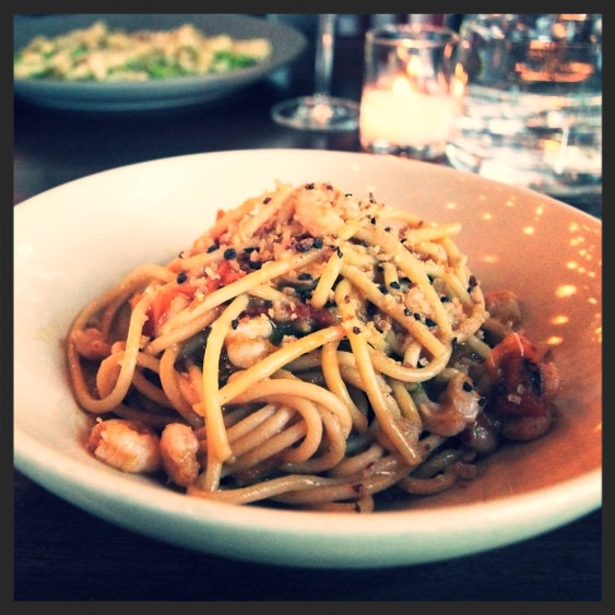 Spaghetti, bay shrimp, pomodorini, chiles at Ava Gene's | Yelp, Linh F.
