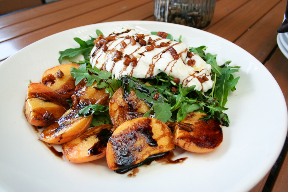 Roasted Peaches & Burrata at Fireside Pies