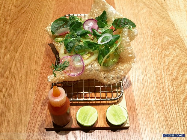 Street style pork rinds, radish, cilantro, avocado and hot sauce | Credit: Instagram, @cosmenyc