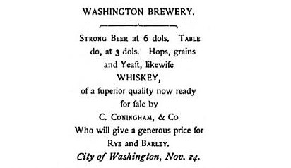 Washington Brewery's ad from 1796  | Credit:  TheHillisHome /Google Books